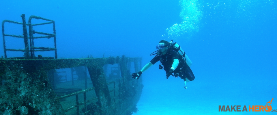 Jesse scuba diving during production of 'The Current' in Cozumel, Mexico.